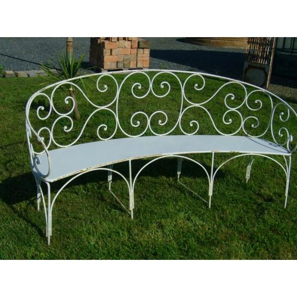 banc en fer forg en demi lune r f bcjm01 antiquit aubry. Black Bedroom Furniture Sets. Home Design Ideas
