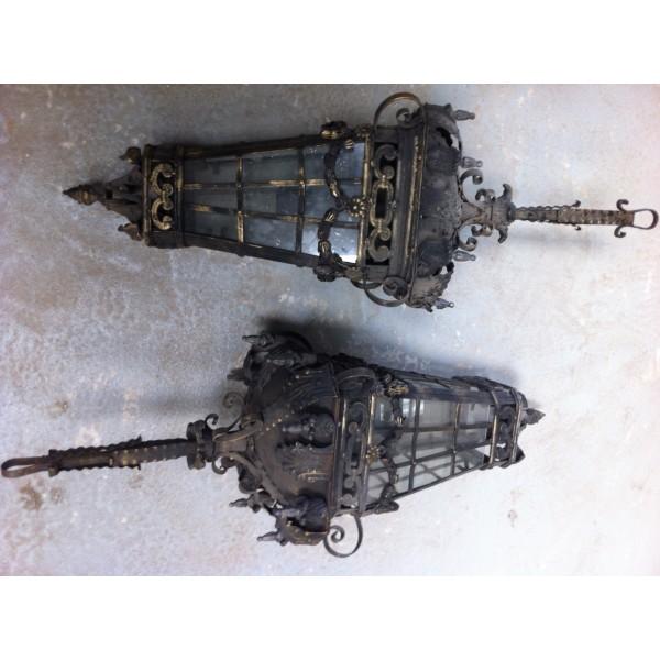 Lanternes en fer forg et fonte od042 for Porte lanterne fer forge